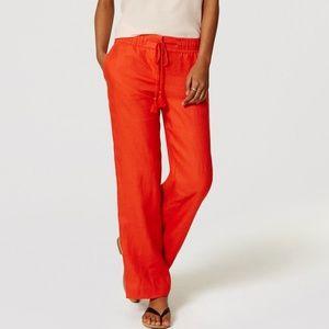 LOFT Linen Draw String Orange Pants